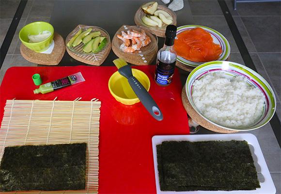 Ingrédients pour recette sushi